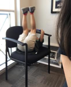 My son, upside down