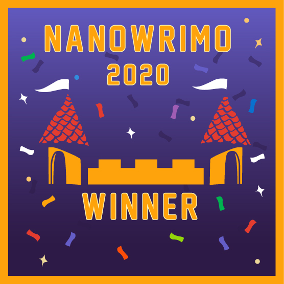NaNoWriMo 2020 Winner's badge featuring a castle on a purple background surrounded by confetti