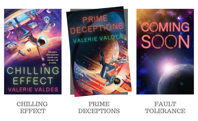 Images of the covers of Chilling Effect and Prime Deceptions, and a placeholder cover image for Fault Tolerance